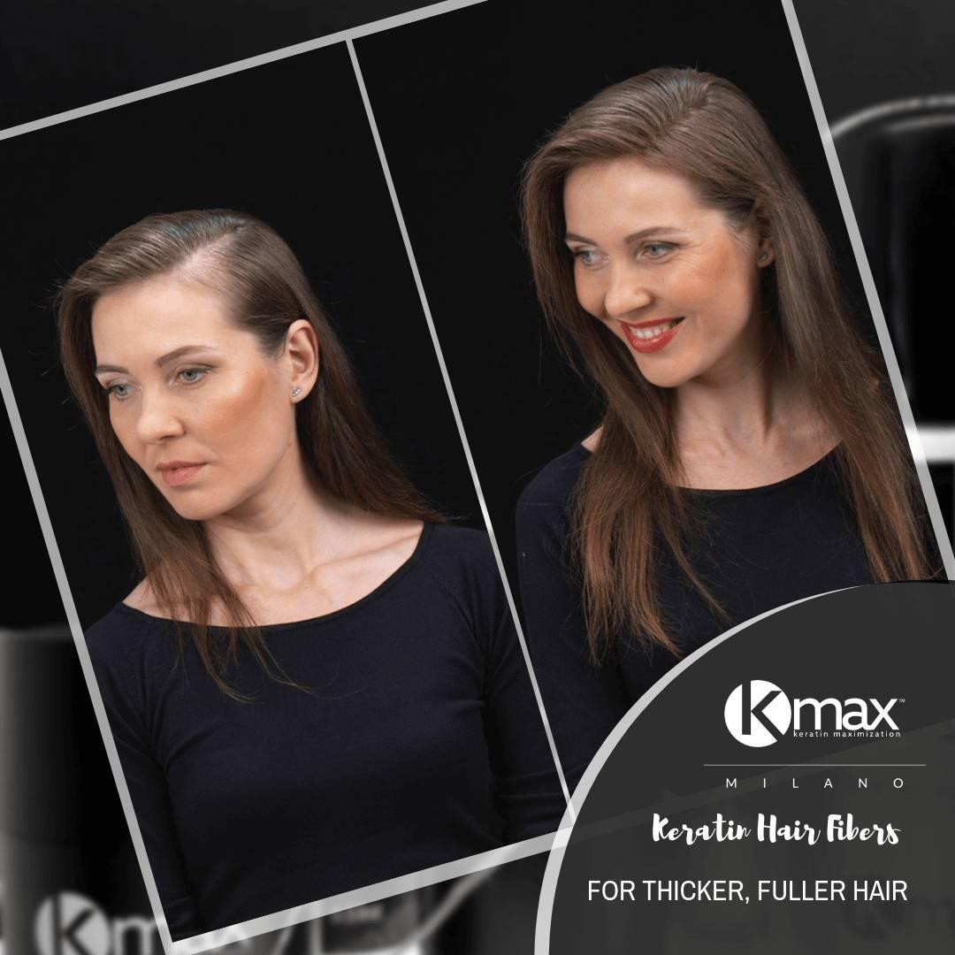αποτελέσματα πριν - μετά την εφαρμογή του kmax concealing hair fibers στις γυναίκες