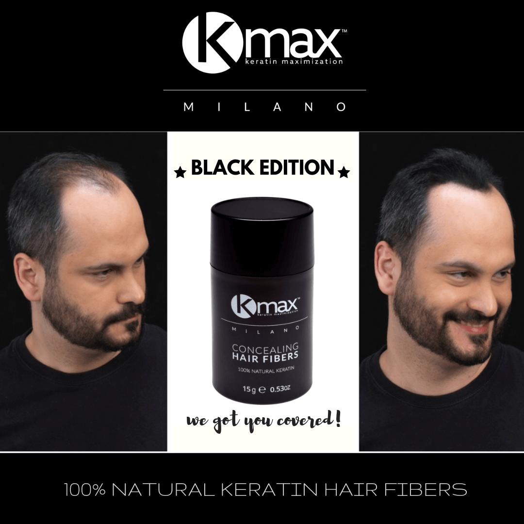 αποτελέσματα πριν - μετά την εφαρμογή του kmax concealing hair fibers
